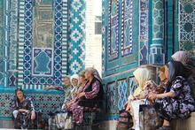 Pilgrims at Shahr-i-Zindah or the Tomb of the Living King, in Samarkand, Uzbekistan. Photo / Jim Eagles