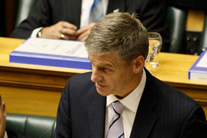 Finance Minister Bill English reading his 2012 Budget. Photo / Mark Mitchell