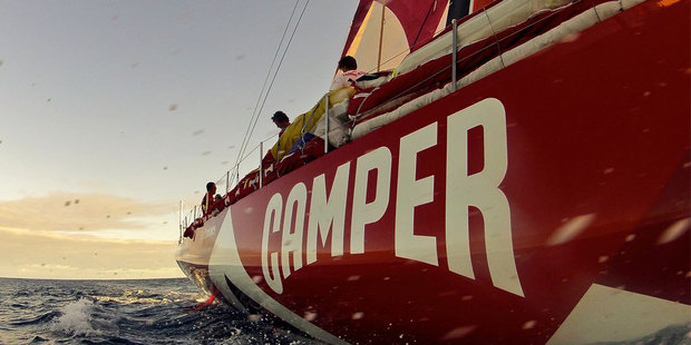 Camper has fought back to take fourth place in an action-packed Miami in-port event in the Volvo Ocean race overnight. Photo / Hamish Hooper.