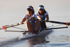 Women's pair Rebecca Scown (L) and Juliette Haigh (R) out on the water. Photo / Christine Cornege.