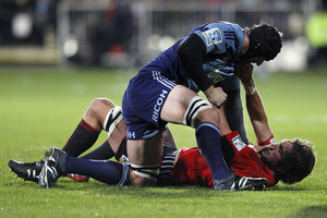 Ali Williams locked horns with Sam Whitelock last night.  Photo / Getty Images