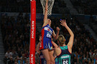 Anna Harrison of the Mystics blocks the shot of Ashlee Howard of the Vixens. Photo / Getty Images