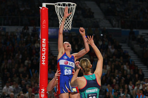 Anna Harrison of the Mystics blocks a shot. Photo / Getty Images
