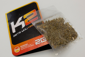 The K2 synthetic cannabis product is on sale in several adult stores. Photo / Brett Phibbs