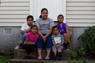 Lopaini Kaufasi, with four of her six children, from left, Akineti, Iaeli, Peniaga and Davanny. Mrs Kaufasi and her husband Leo struggle to feed their family on their combined low wages. Photo / Sarah Ivey