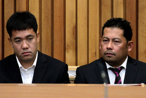 Leonil Relon (L), Navigation Officer, and Mauro Balomaga, Captain of the container ship MV Rena during an earlier appearance in the Tauranga District Court today. Photo / Alan Gibson.
