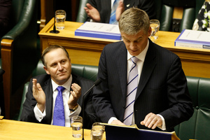 Finance Minister Bill English reading his 2012 Budget in the House. Photo / Mark Mitchell