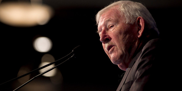Sir Ron Brierley was narrowly re-elected as a director at the Guinness Peat Group annual general meeting. Photo / Natalie Slade