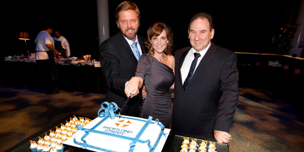 Michael Galvin, Angela Bloomfield and John Barnett at the Shortland Street 20th birthday bash. Photo / Steven McNicholl