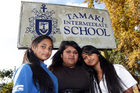Pearl, Ruhiyyah and Ina Niu Pasoni were worried about moving across town but found Tamaki Intermediate to be a welcoming school. Photo / Doug Sherring