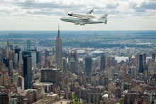 The Enterprise shuttle - once seen, never forgotten. Photo / AP