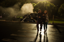 Chopper crash scene from Shortland Street's mega-episode. Photo / supplied