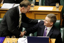 Expect the ritual handshake from Prime Minister John Key to Finance Minister Bill English after his second 'zero' Budget. Photo / Mark Mitchell