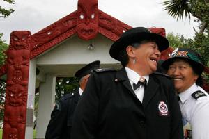 Maori Wardens share a joke. Photo / NZPA