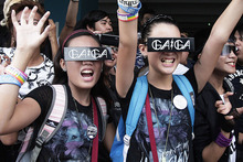 Lady Gaga fans wait for the pop star to perform in Manila. Photo / AP