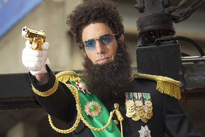 Sacha Baron Cohen (pictured as The Dictator) says he nearly died while filming Bruno.  Photo / AP