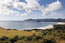 Great Barrier Island's Palmers Beach, Kaitoke Beach and Medlands. Photo / Sarah Ivey