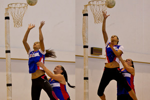 Northern Mystics attack team Catherine Latu and Maria Tutaia practice the new lifting tactic. Photo / Dean Purcell