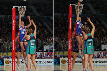 Anna Harrison of the Mystics blocks the shot of Karen Howarth of the Vixens. Photo / Getty Images