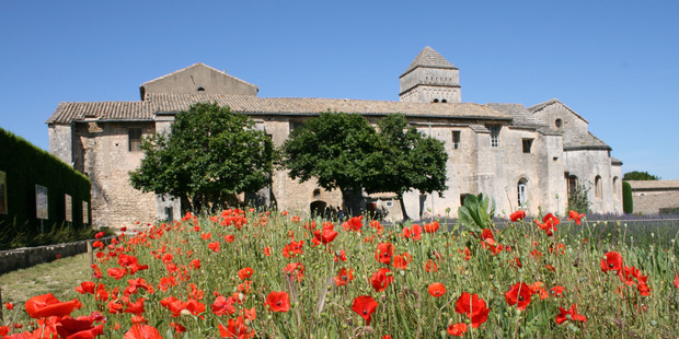 Fields of poppies behind St Paul de Mausole in St Remy de Provence, where Vincent van Gogh was a patient. Photo / Jim Eagles