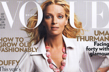 Uma Thurman on the cover of British Vogue. Photo / Supplied