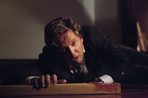 Chris Warner (Michael Galvin) in a chilling scene from Shortland Street's 20th anniversary episode. Photo / Supplied