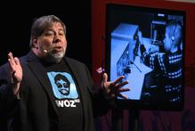 Apple co-founder Steve Wozniak speaking in Auckland this morning. Photo / Phillip Davis