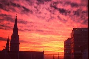 Tonight's sunset in Auckland. Photo / Greg Bowker