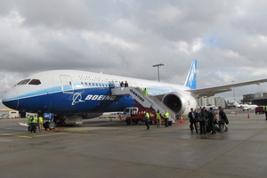 The Boeing 787 Dreamliner pictured at Auckland Airport. Photo / Grant Bradley