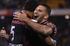 Lewis Brown of the Warriors (R) celebrates with Manu Vatuvei (L) on full time during the round 10 NRL match between the New Zealand Warriors and the Sydney Roosters. Photo / Getty Images.