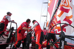 Gybing the boat onboard CAMPER with Emirates Team New Zealand during leg 7 of the Volvo Ocean Race. Photo / Hamish Hooper.