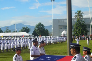 Raising the flag at Parliament grounds in Apia to celebrate Samoa's independence. Photo / Vaimoana Tapaleao
