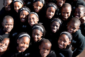 Members of the Watoto Choir during a visit to Life FM studio. Photo / Dean Purcell