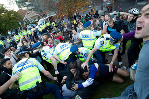 Police and students clash at the University of Auckland after a peaceful protest got out of control last Friday. Photo / Richard Robinson