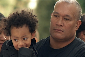 Two-year-old So'saia Paasi with his uncle. Photo / TV3