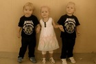 The Weekes triplets Lillie, Jackson and Willsher died in a Doha fire. Photo / Supplied