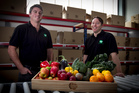 Joshua Bartley-Smith (left) and Jason Brennan with typical produce from their online fruit and vegetable delivery business. Photo / Natalie Slade
