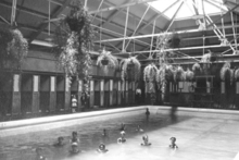 A historic picture of the Teps shows hanging baskets over the main pool. The Teps open after refurbishment on June 24. Photo / Supplied
