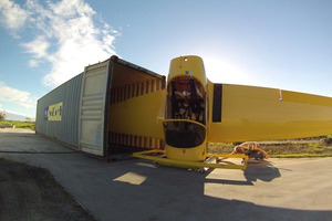 The two-seater plane has been sent to Los Angeles in a container. Photo / Supplied