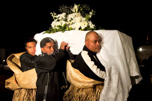 The coffins of So'saia Paasi and his son arrive at the Sacred Heart Church in Ponsonby. Photo / Natalie Slade