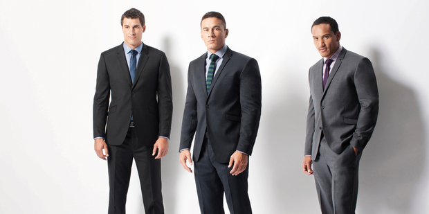 All Blacks (from left) Anthony Boric, Sonny Bill Williams and Hosea Gear wearing Barkers formal wear. Photo / Stephen Tilley