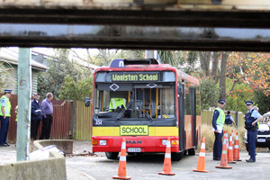 The scene from this morning's bus crash in Woolston. Photo / Geoff Sloan