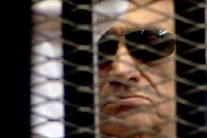 Ex-President Hosni Mubarak hears the verdict. Photo / AP