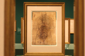 An ink drawing by Leonardo da Vinci titled 'The Principal Organs and Vessels of a Woman', around-1508-10. Photo / AP