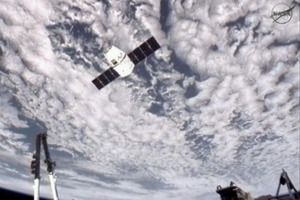 The SpaceX Dragon commercial cargo craft approaching the International Space Station late last week. Photo / NASA