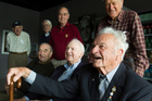 Members of the Bomber Command Association, including president Bunny Burrows (front, right).  Photo / Paul Estcourt