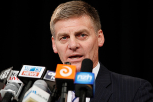 Finance Minister Bill English during his presentation on the 2012 budget. Photo / NZ Herald.