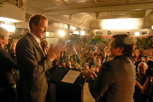 Metiria Turei and Russel Norman address the party faithful. Photo / NZ Herald