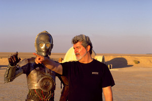 C-3PO and George Lucas. Photo / Supplied