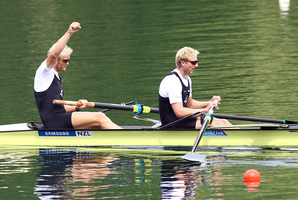 Eric Murray and Hamish Bond won in Lucerne to remain unbeaten since 2009. Photo / Getty Images
